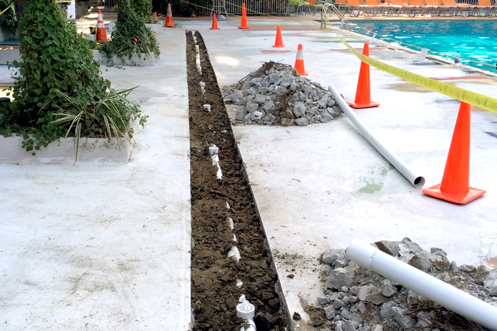 80 foot Pool Drain / Deck Drain for Hotel